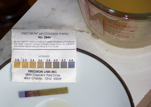 A pH paper dipped in the mead has changed color. A comparison with the chart next to it in the photo indicates a pH of 3.6 - 5/20/07