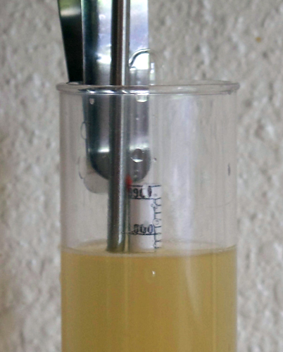 Hydrometer reads 1.003, indicating the mead has fermented out
