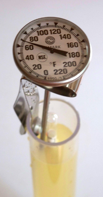 Temperature reads almost 70 Fahrenheit, indicating that the specific gravity of the mead sample should be adjusted upward by 0.001
