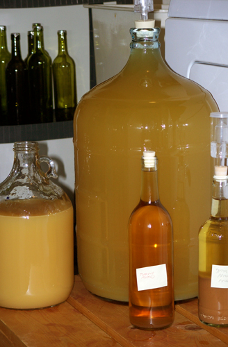 A 5-gallon carboy filled to the top with mead, a 1-gallon jug that's not quite full, and two wine bottles filled with older mead that I'll use to top up